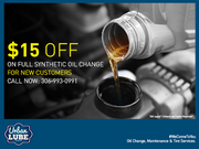 Get $15 OFF on full synthetic oil change